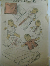 Vintage Advance 6875 INFANT LAYETTE & CONTOUR SHEETS Sewing Pattern Baby