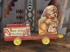 Vintage Fisherprice Hot Dog Wagon Dog Pull Toy