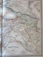 Turkey Georgia Armenia Syria Kurdistan Iraq 1860 Dufour huge old engraved map