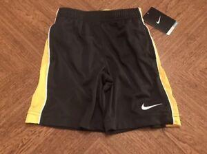 Nike DRI-Fit Shorts Yellow And Black Kids XS (4) NWT
