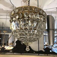 Vintage 1960s Flush Mount Hollywood Regency Glamor Crystal Basket Ceiling Light