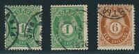 "NORWAY 1872, three stamps ""posthorn"" Skilling! Fine! Mi. 135,--!! 