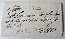 PERU folded stampless cover YCA FRANCA sent to Accountant Republic of Peru 1830