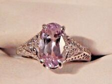2.72ct. Oval Pink Kunzite Filigree Sterling Silver Ring Free Sizing