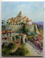 Tableau Post Impressionniste Paysage Saint Paul de VENCE Huile sur toile signée