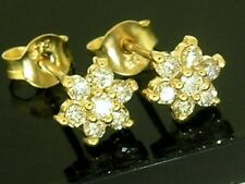E057 - Sparkling 9ct Solid Gold NATURAL Diamond Blossom Stud Earrings 0.40ct