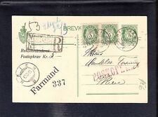 Norway 1915 registered stationery postcard Christiania Skien