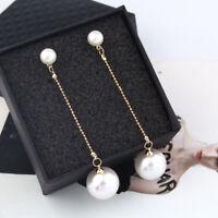 Fashion Lady Elegant Big Simulated Pearl Long Tassel Statement Dangle Earrings