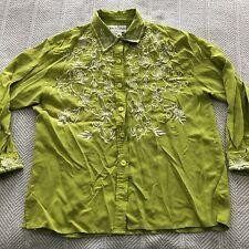 Diane Von Furstenberg Lime Green Silk Blouse Top White Floral Embroidery Size L