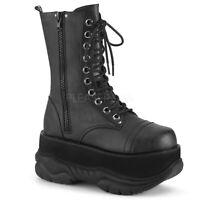Demonia NEPTUNE-200 Men's Black Punk Goth Platform Lace-Up Costume Mid-Calf Boot