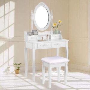 Blanco 4 Cajones Mesa de Maquillaje Tocador Moderno do Con taburete y espejo