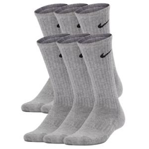 Nike Boys Gray Performance Cushioned Dri-Fit Crew Socks 6 Pack Size 3Y-5Y