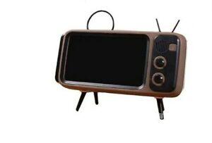 Portable Retro Mini Bluetooth Speaker TV Design Mobile Phone Holder FM Radio NEW