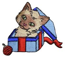 "Christmas Kitten Applique Patch - Present, Ornament, Gift Box 2.75"" (Clearance)"