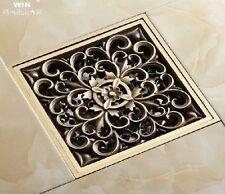 Antique Brass Art Carved Flower Bathroom Floor Waste Grate Shower Drain Drainer