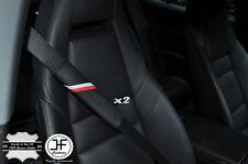 2X FOR AUDI SPORT STRIPES LEATHER BLACK STITCH LUXURY SHOULDER SEAT BELT PADS