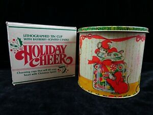 1970s Holiday Cheer Lithographed Tin Cup Candle Bank Christmas Mouse Mice Jasco