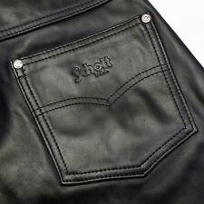 "Beautiful Schott 600 Steerhide Leather Jeans 32"" Waist Black Excellent Condition"