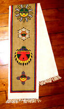 "Table Runner 13.5x72"" + Fringed Ends Native American Sun Face Design Canvas New"
