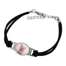 Miradoll Ragdoll Cat Kitten Pink Ribbon Bow Novelty Suede Leather Metal Bracelet