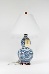Ralph Lauren Zen Koi Fish Porcelain Ceramic Round Blue & White Table Lamp