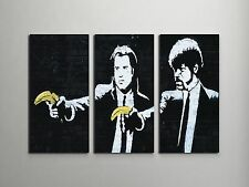 "Banksy Pulp Fiction Bananas Stretched Canvas Triptych Print 48""x30"".BONUS DECAL!"