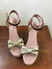 $450.  Red Valentino Gold Glitter Bow Platform Sandals EU 41 (US 11)