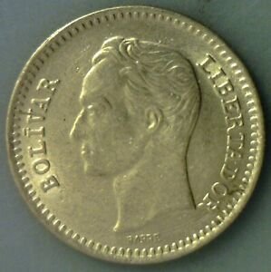 Gem Uncirculated Venezuela 1965 - 25 Centimos ~ Head Of Bolivar - pywyqy