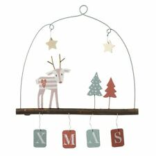 Wooden Hanging Xmas Sign with Reindeer & Christmas Tree