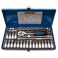 "Silverline Socket Wrench Set 1/4"" Drive Metric Automotive Garage Tools 38 Pc U34"