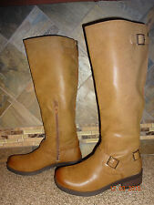 NEW Womens MOSSIMO Sz 9.5 Light Brown/Tan Faux Leather Tall Boots Buckles