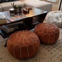 SALE! Set of 2 Moroccan Genuine Leather Pouf Ottoman Footstool Pouffe Brown Tan