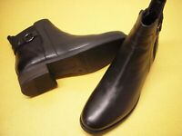 Earth Shoes Alana Santry Leather Side Zip Ankle Boots Women's 7.5 W Black