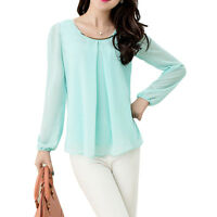 Casual Women Lady Autum Long Sleeve Blouse LOOSE Chiffon Round Collar Shirt Tops