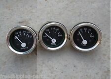 "2"" /52mm  Electrical Oil Pressure + Oil Temp + Volt+ -Black Chrome"