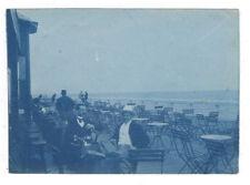 Photo Ancienne Portrait Homme Deux Hommes en terrasse Bord de mer Chaise 1900