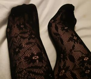 Black lace ankle socks one size nice soft touch stretchy material floral pattern