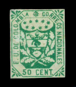 COLOMBIA 1864  Coat of Arms  50c  green Scott # 33  mint MH
