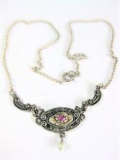 Antikes Collier Silber 835 mit Rubin und Perle, 46,6 cm