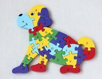3D Puzzle Legno Forma di Cane Educativo Lettere Alfabeto Bambini Imparare dfh