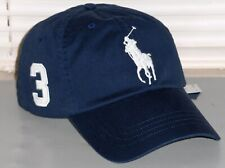 POLO RALPH LAUREN Men's Big Pony Chino Baseball Cap Hat, LEATHER STRAP, Navy