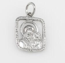 Echt 925 Sterling Silber Anhänger Maria mit Jesuskind, rhodiniert