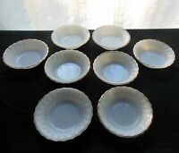 "Anchor Hocking Milk Glass 8 Golden Shell Swirl 5"" Berry Dessert Bowls"