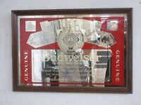 """Vintage BUDWEISER Beer Bar Wood Framed Mirror.  """"King of Beers"""".  1989"""