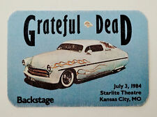 Grateful Dead Backstage Pass Kansas City Missouri 7/3/1984 Vintage Classic Car