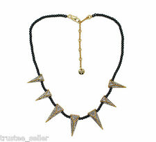 Juicy Couture Shiny Pave Triangle Spike Pearl Bead Gold Necklace Fashion Choker