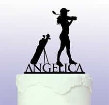 Personalised Female Golfer Golf Cake Topper