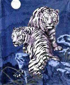 Queen Size White Tigers Blue Luxury Mink Faux Fur Blanket Super Soft Plush Warm