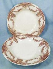 2 Pitcairns Aquilla Soup Bowls Brown Transferware Trumpet Vase Flowers As Is