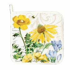 Michel Design Works Cotton Kitchen Potholder Tranquility Floral Bee - NEW